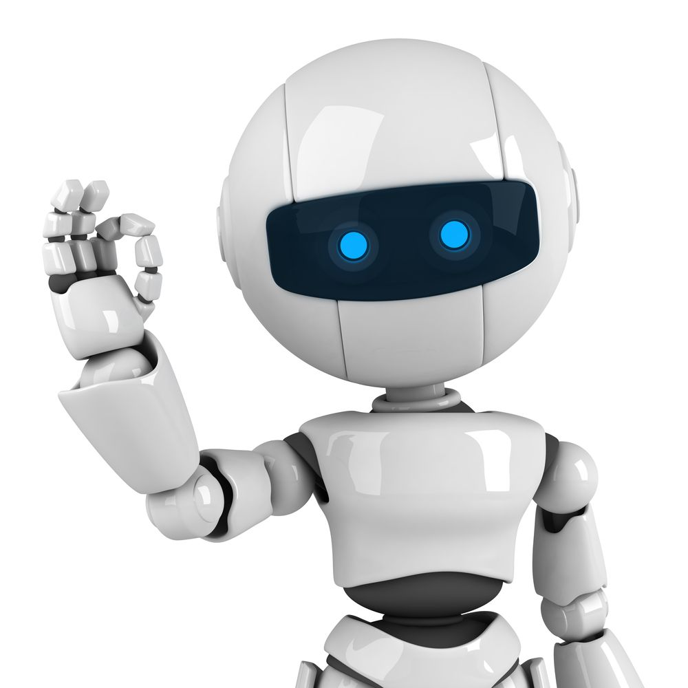Roboter macht mit seine Fingern ein O.k. Zeichen