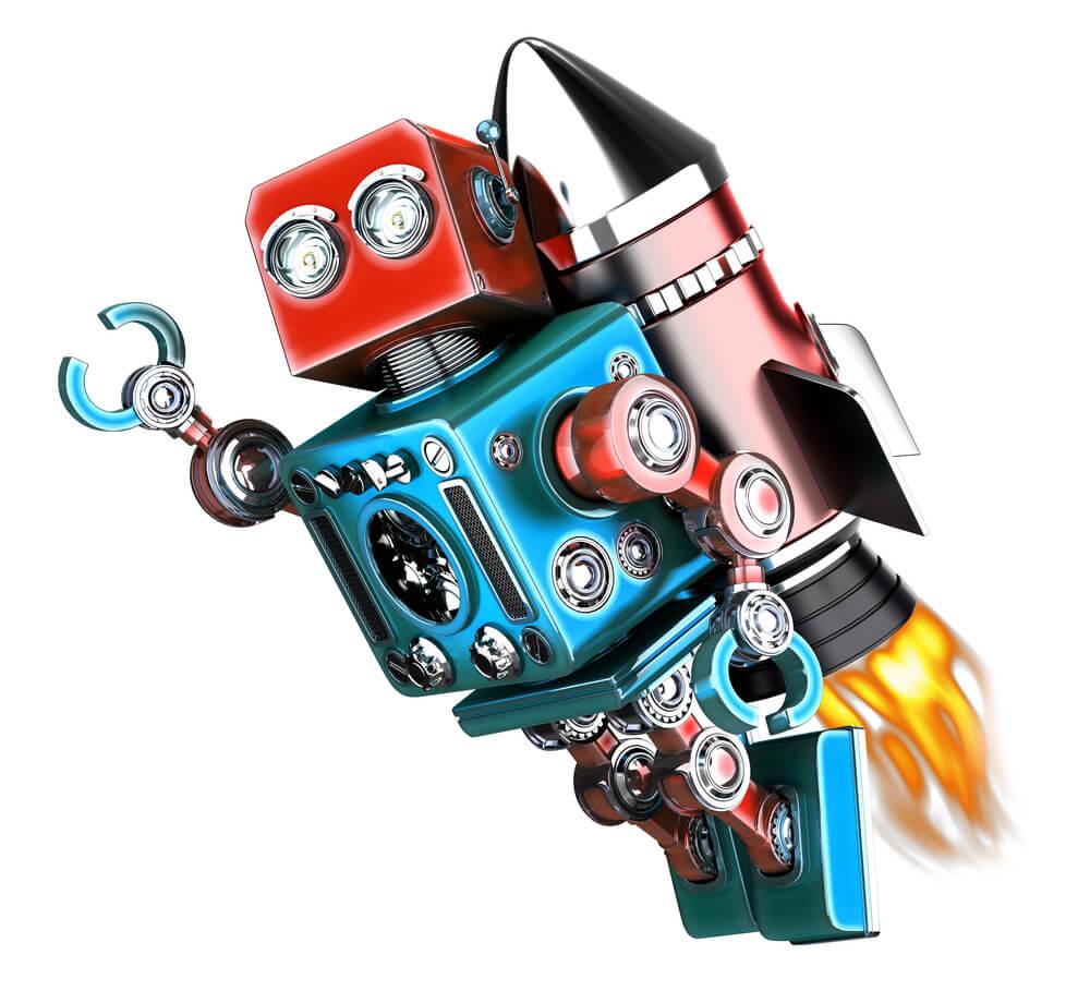 Ein Roboter mit einer Rakete