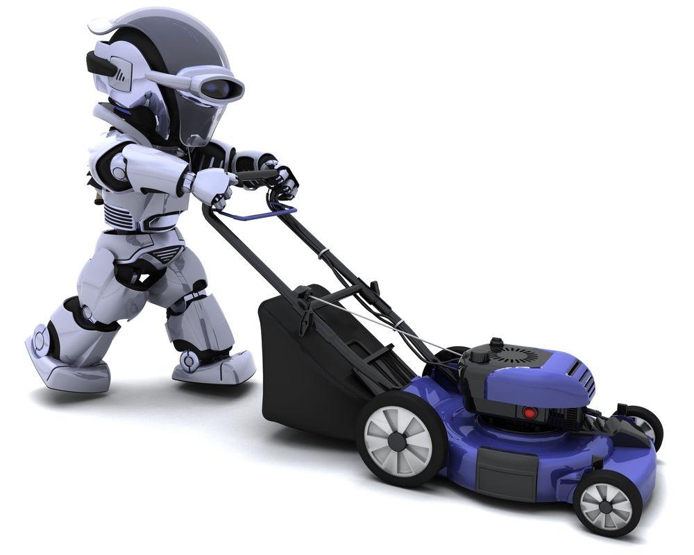 Ein Roboter der einen Rasenmäher schiebt
