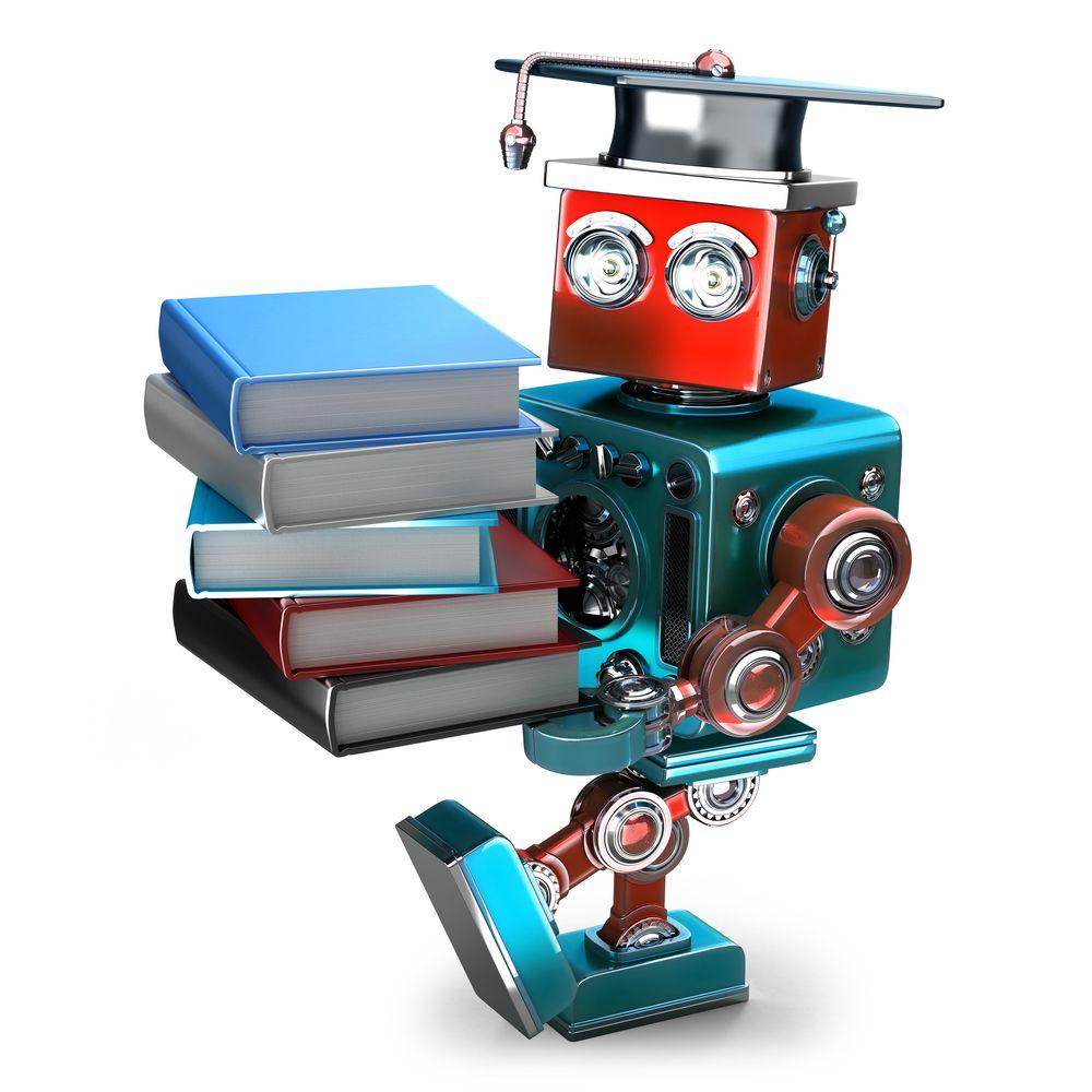 Ein Roboter der Bücher und einen Hut trägt