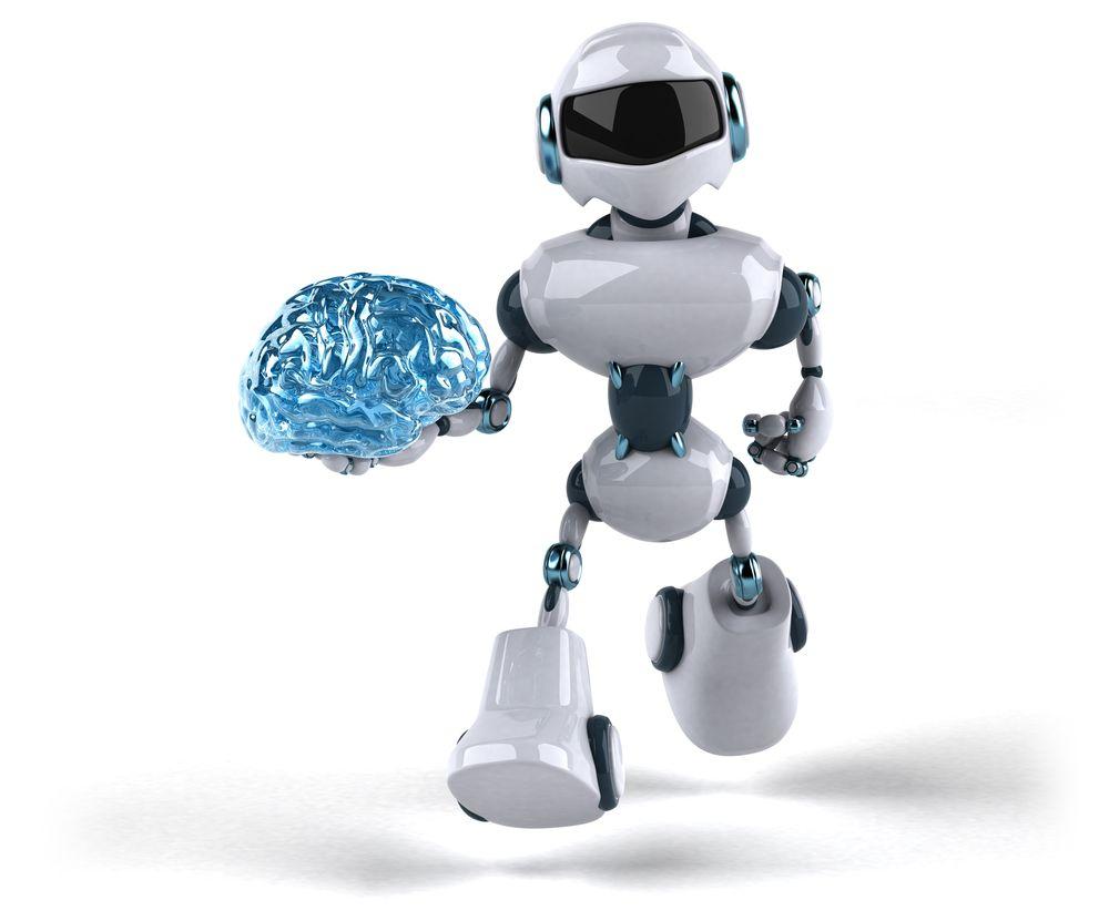 Ein Roboter trägt ein künstliches Gehirn