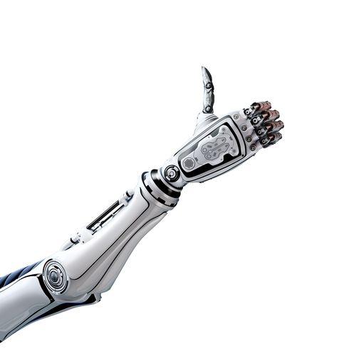 Ein Roboterarm der einen Daumen nach oben zeigt