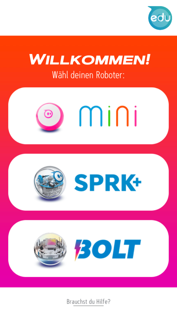 Auswahlbildschirm in der Spehro App