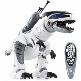 ANTAPRCIS RC Ferngesteuert Dinosaurier Roboter, Programmierbar Dino mit Licht und Sound, Intelligent Interaktive Spielzeug mit Brüllen, Tanz- und Schussfunktion für Kinder Jungen Mädchen Geschenk - 1