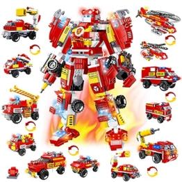 HOGOKIDS City Roboter Baukasten Konstruktionsspielzeug - 591 PCS Feuerwehrauto-Fahrzeugsatz 13 in 1 kreative STEM Pädagogisches Bausteine Spielzeug ab 6 7 8 9 10+ Jahren Jungen Geschenk - 1