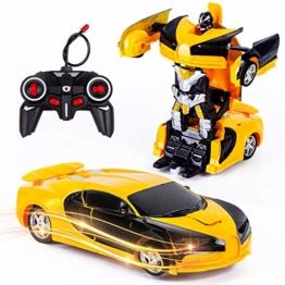 Vubkkty Ferngesteuertes Auto mit Fernbedienung,Transformator Ferngesteuertes Auto Spielzeug für Jungen 2 in 1 rc Auto Kinder Roboter Spielzeug ab 6 7 8 9 10 Jahre Gelb Schwarz - 1
